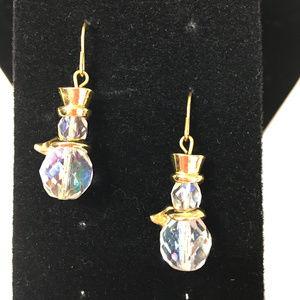 Goldtone and Crystal Glass Bead Snowman Earrings